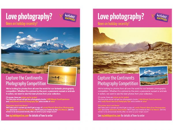 Holiday Extras A3 Photography Competition Posters
